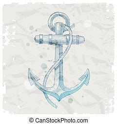 ancorare, mano, disegnato