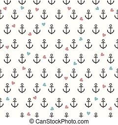 ancorare, modello, grigio, seamless, vettore, cuori, colorato