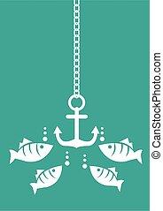 ancorare, vettore, fish, subacqueo, illustrazione