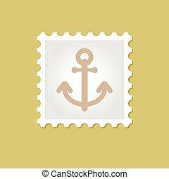 ancorare, vettore, francobollo