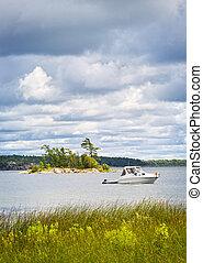 ancré, lac, bateau