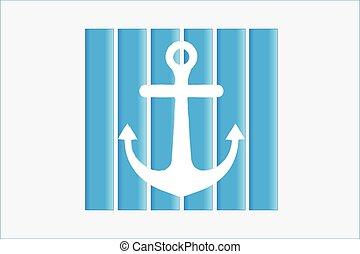 ancre, conception, plage, vecteur, icône, logo