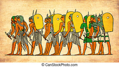 Ancyent Egypt warriors  going to battle