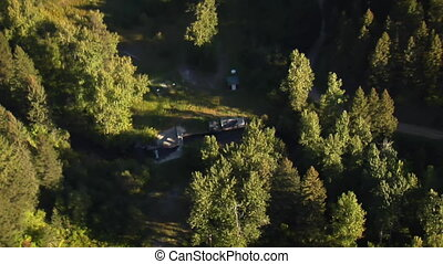 and aerial shot of forest at Canyon with waterway