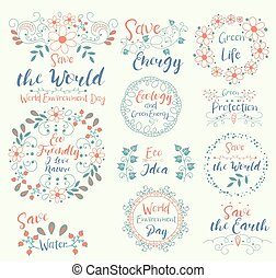 and., doodle, selos, cartão, elements., ecologia, energy., ...