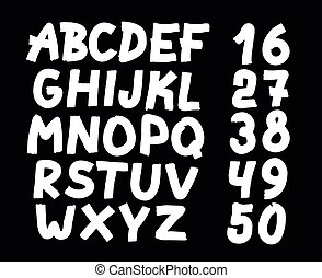 drawn letters and numbers font