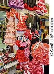 andalousie, espagnol, cordoue, espagne, robes