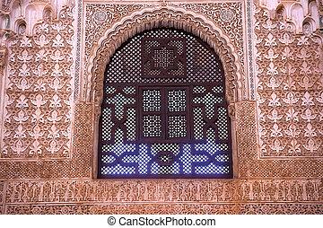 andalousie, grenade, mur, voûte, spai, maure, fenêtre, conceptions, alhambra