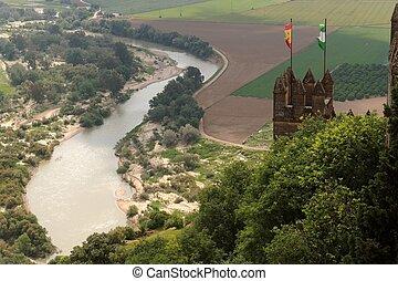 Andalusia, medieval, almodovar, Rio, del, acima, Bandeiras,...