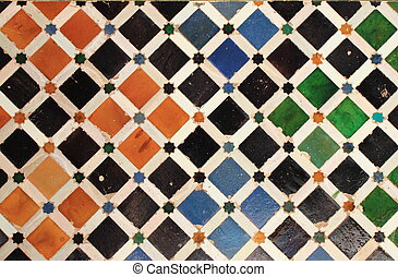 Traditional patterns of an andalusian Azulejo. Granada, Spain
