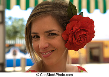 Andalusian Smile - Young woman with gipsy dress and red...