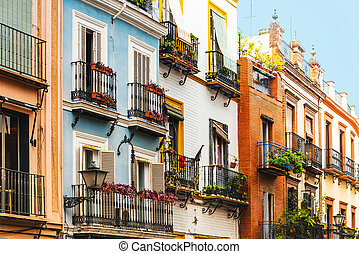 Andalusian style building in Sevilla city, Spain