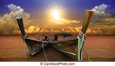 andaman long tail boat local water transport ship in southern of