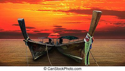 andaman long tailed boat southern of thailand