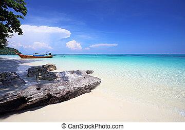 andaman, rok, exotique, mer, koh, plage, thaïlande