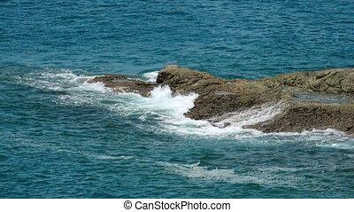 Andaman sea shore waves - Waves breaking near a rocky shore