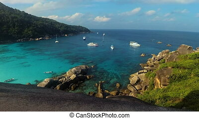 Andaman sea with yachts at Similan Islands