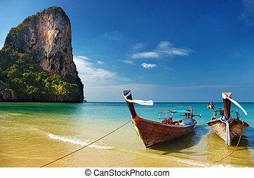andaman, tropikalny, morze, plaża, tajlandia
