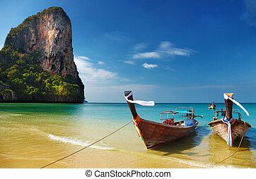 andaman, tropisk, hav, strand, thailand