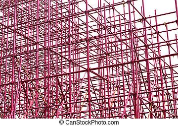 andamio, disposición, complejo, plano de fondo, blanco, etapa