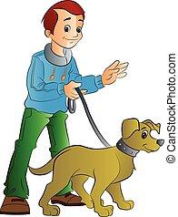 andando cachorro, ilustração, homem