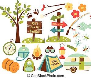 andando gita, campeggio, icone, set