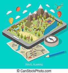 andando gita, concetto, campeggio, disegno