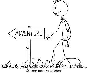 andando gita, escursionista, vettore, o, avventura, cartone ...