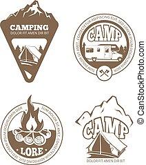 andando gita, vettore, logos, etichette, campeggio, tesserati magnetici, retro, emblemi