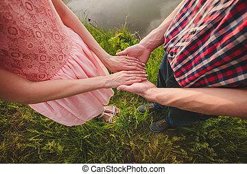 andar, amor, par, parque, jovem, outono, segurar passa