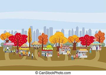 andar, ao ar livre, caminhões, promo., evento, modelo, festival, barracas, gelo, flores, quentes, modelo, apartamento, vender, alimento, cartaz, homens, parque, ilustração, venda, voador, caricatura, comprando, mulheres, cão, bens, creme, café, pessoas, autumn., modernos, vetorial, panificadora, ou, toldos