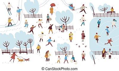 andar, ao ar livre, torcida, pessoas, jogar, bolas neve, style., inverno, vestido, -, minúsculo, atividades, outerwear, coloridos, parque, ilustração, apartamento, caricatura, predios, dog., executar, boneco neve, vetorial