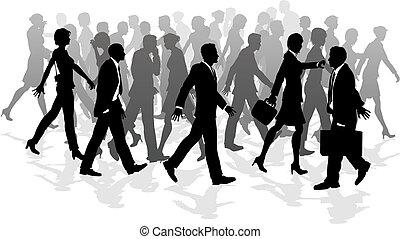 andar, apressar-se, negócio, torcida, pessoas