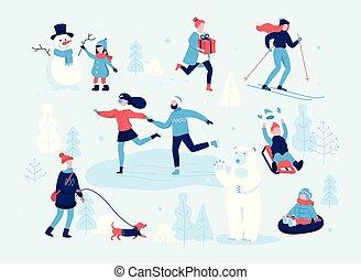 andar, atividades, pessoas, patim, menina, rink., sledding, montanha, inverno, patinação, concept., crianças, apartamento, par, parque, criança, esquiando, disposição, cão, slope., boneco neve, divertimento, fazer, tendo