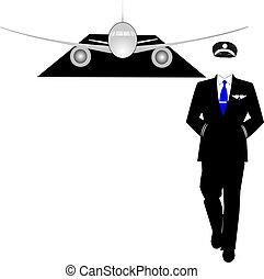 andar, avião, piloto, seu, afastado