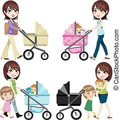 andar, carrinho criança, mãe