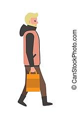 andar, cartaz, ilustração, saco, vetorial, homem