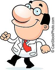 andar, cientista, caricatura
