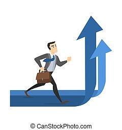 andar, conceito, negócio, arrow., crescimento, levantar, homem negócios, progresso