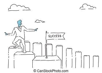 andar, conceito, sucesso financeiro, negócio, mapa, barras, cima, homem