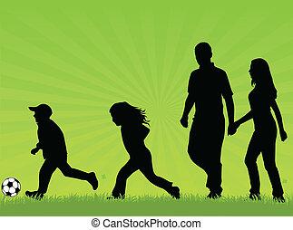 andar, crianças, família