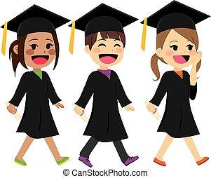 andar, crianças, graduação