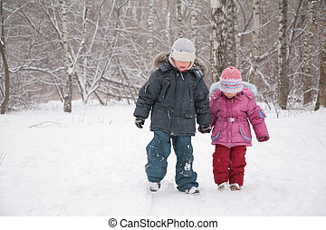 andar, crianças, neve, dois