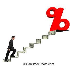 andar, dinheiro, topo, sinal, porcentagem, direção, escadas, homem