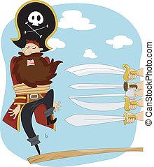 andar, execução, prancha, pirata