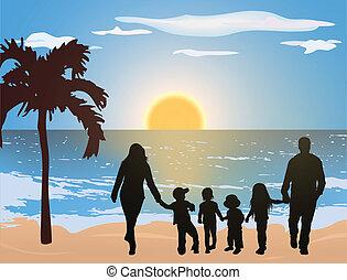 andar, família, junto