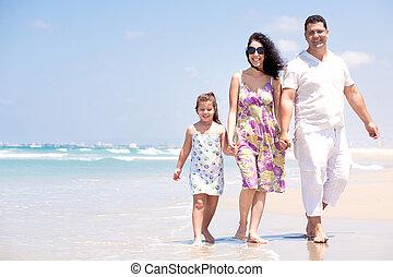 andar, família, mar