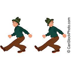 andar, feliz, homem, chapéu, verde, caricatura