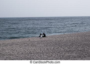 andar, gastando, par, oceânicos, mar, tempo, falando