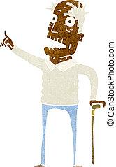 andar, homem, antigas, vara, caricatura